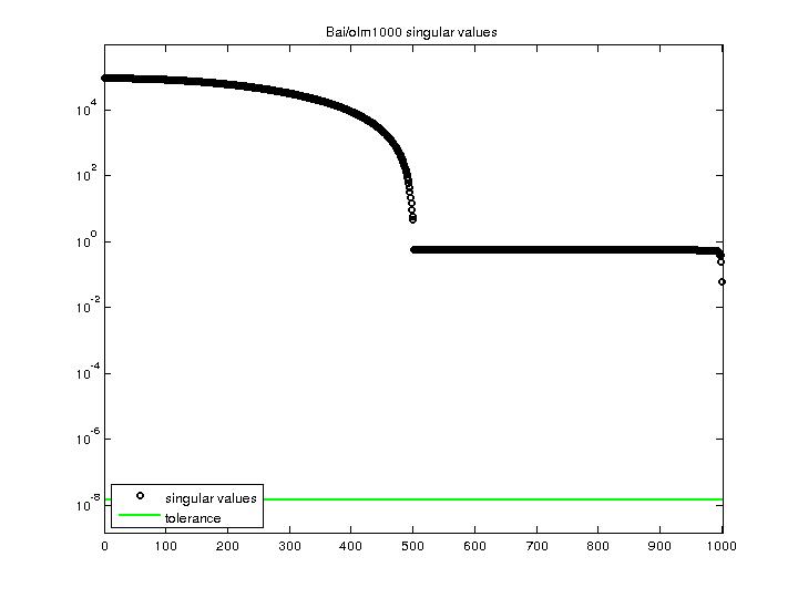 Singular Values of Bai/olm1000