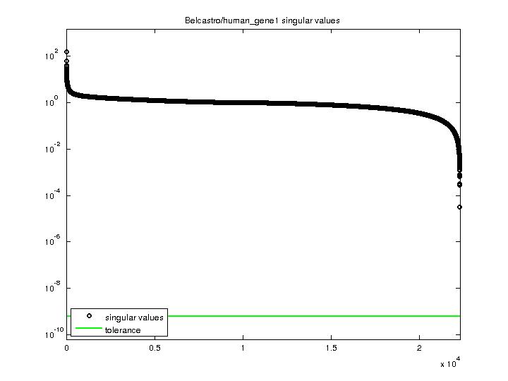 Singular Values of Belcastro/human_gene1