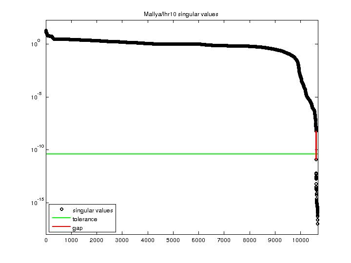 Singular Values of Mallya/lhr10