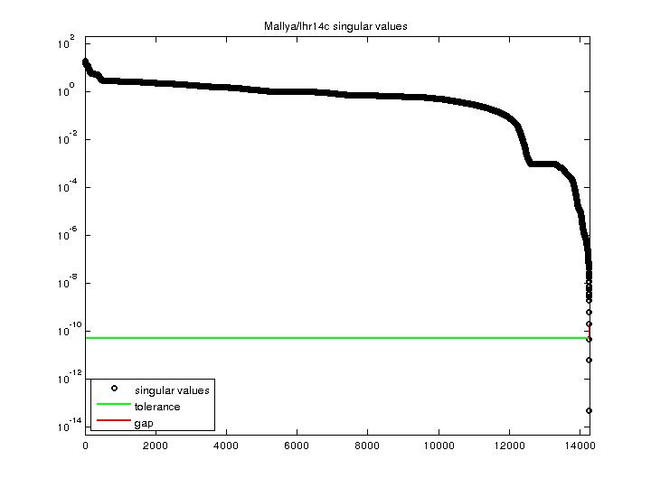Singular Values of Mallya/lhr14c
