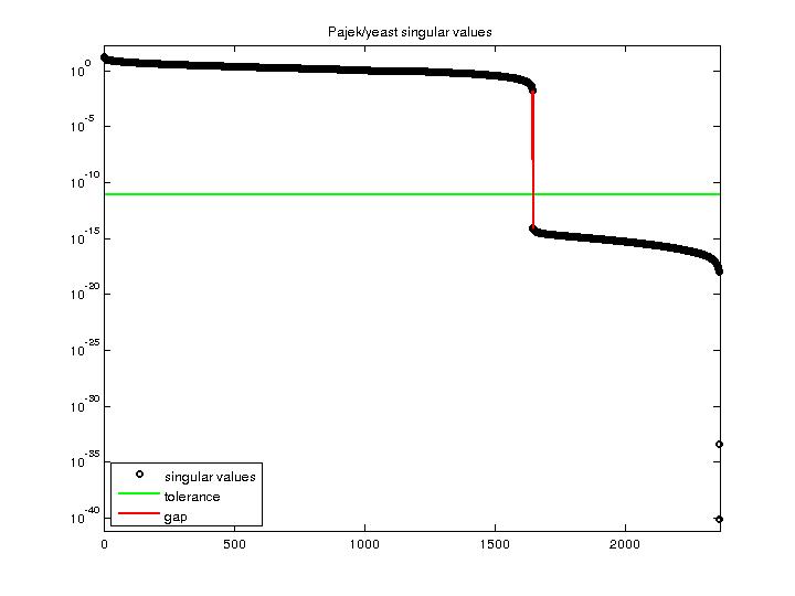 Singular Values of Pajek/yeast